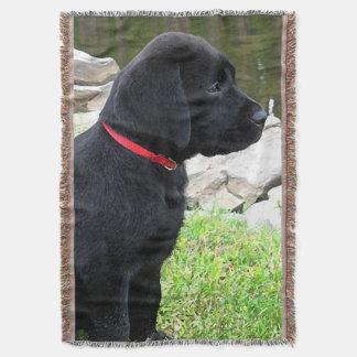 Black Labrador Puppy - Little Red Collar Throw Blanket