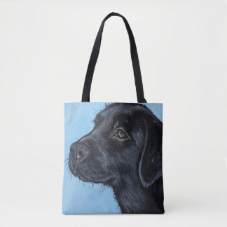 Black Labrador Puppy Tote Bag