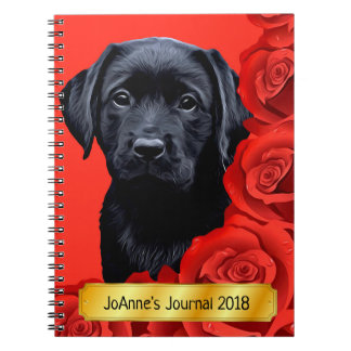 Black Labrador Puppy - Valentine Roses Notebook