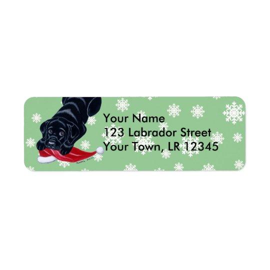 Black Labrador Puppy with Santa Hat Christmas