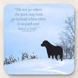Black Labrador Quote - Leave a Trail Coaster