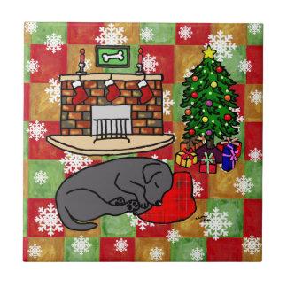 Black Labrador Retriever Christmas Mosaic Tile