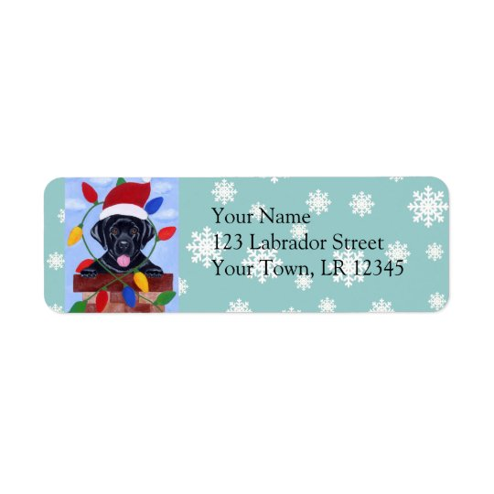 Black Labrador Retriever Christmas Return Address Label