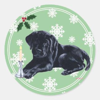 Black Labrador Retriever Christmas Snowflake Classic Round Sticker