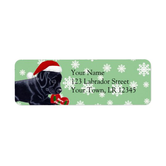 Black Labrador Retriever Christmas Snowflake Return Address Label