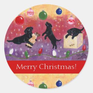 Black Labrador Retriever Christmas Stickers