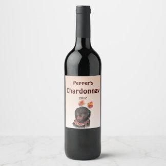 Black Labrador Retriever Dog Animal Wine Label