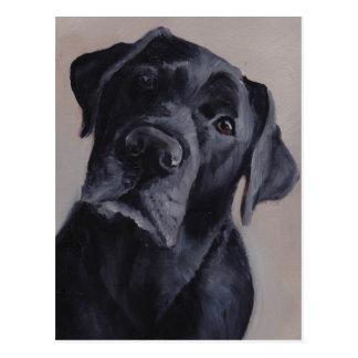 Black Labrador Retriever Dog Art Postcard