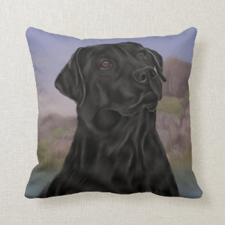 Black Labrador Retriever Dog Throw Pillow