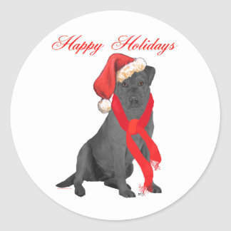 Black Labrador Retriever Holiday Greetings Classic Round Sticker