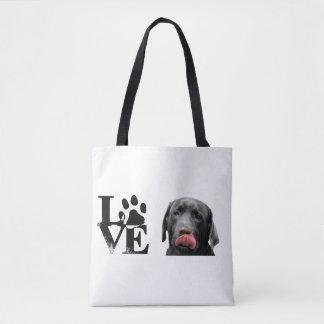 Black Labrador Retriever LOVE bag, purse Tote Bag