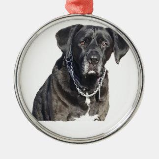 Black Labrador Retriever Round Metal Christmas Ornament