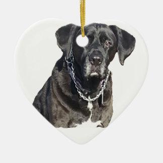 Black Labrador Retriever Double-Sided Heart Ceramic Christmas Ornament