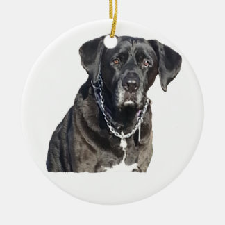 Black Labrador Retriever Double-Sided Ceramic Round Christmas Ornament