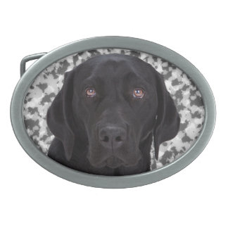 Black Labrador Retriever Oval Belt Buckle