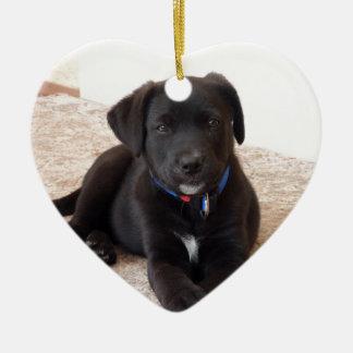 Black Labrador Retriever Puppy Ceramic Heart Ornament