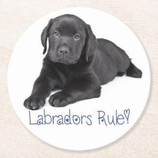 Black Labrador Retriever Puppy Dog Blue Love Round Paper Coaster
