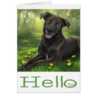 Black Labrador Retriever Puppy Dog Green Hello Card
