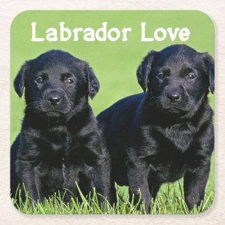 Black Labrador Retriever Puppy Dog Love Square Paper Coaster