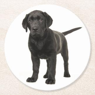 Black Labrador Retriever Puppy Dog Red Love Round Paper Coaster