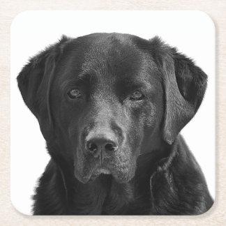 Black Labrador Retriever Puppy Dog Square Paper Coaster