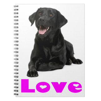Black Labrador Retriever Puppy, Purple Love Notebook