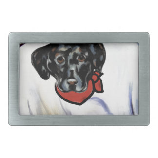 Black Labrador Retriever Rectangular Belt Buckle