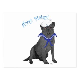 Black Labrador Retriever Sailor Postcard