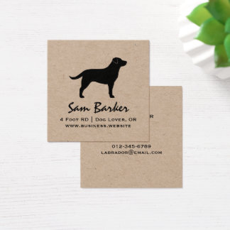 Black Labrador Retriever Silhouette Square Business Card