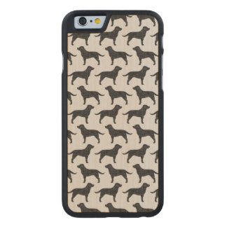 Black Labrador Retriever Silhouettes Pattern Carved Maple iPhone 6 Case