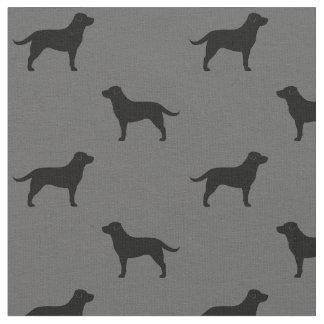 Black Labrador Retriever Silhouettes Pattern Fabric