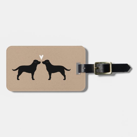 Black Labrador Retriever Silhouettes with Heart Luggage Tag