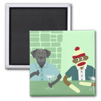 Black Labrador Retriever & Sock Monkey Magnet