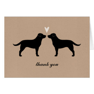 Black Labrador Retrievers Wedding Thank You Card
