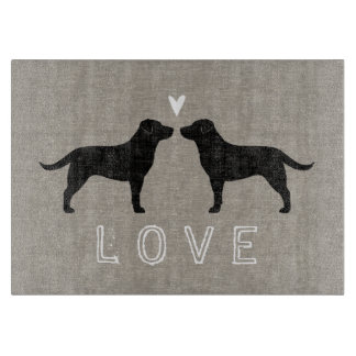 Black Labrador Retrievers with Heart and Love Cutting Board
