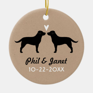 Black Labrador Retrievers with Heart and Text Ceramic Ornament