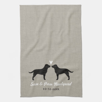 Black Labrador Retrievers with Heart and Text Kitchen Towel