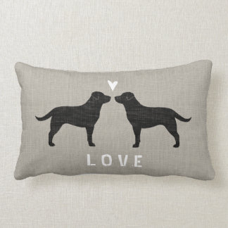 Black Labrador Retrievers with Heart and Text Lumbar Pillow