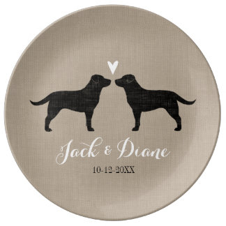 Black Labrador Retrievers with Heart and Text Plate