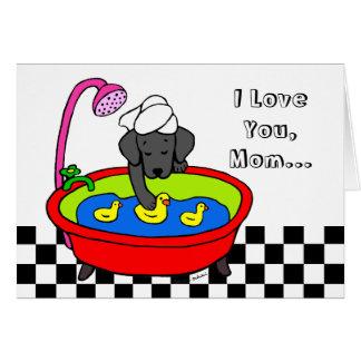 Black Labrador & Rubber Ducks Cartoon Card