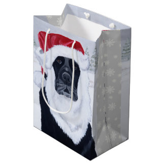 Black Labrador Santa Hat Gift Bag