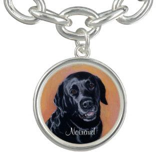 Black Labrador Smiling in the light Charm Bracelets