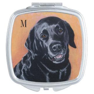Black Labrador Smiling in the light Travel Mirror