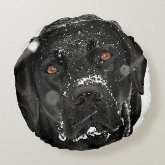 Black Labrador - Snow Globe Round Pillow