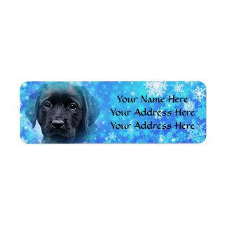Black Labrador - Snowflakes Return Address Label