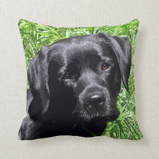 Black Labrador - Spring Day Throw Pillow