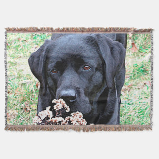 Black Labrador - Take Time Throw Blanket