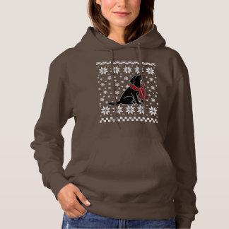 Black Labrador Tartan Scarf Snowflakes Hoodie