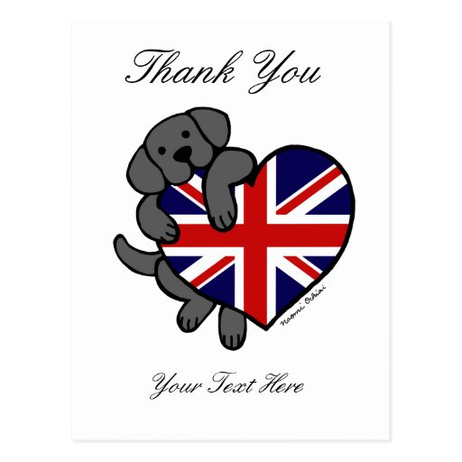 Black Labrador & UK Flag Heart 2 Cartoon Postcard