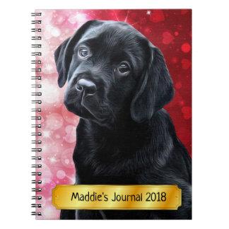 Black Labrador  Valentine Puppy Notebook
